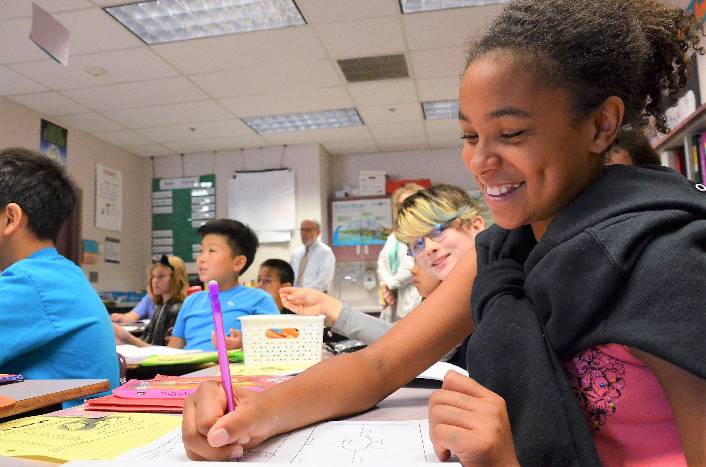 Sierra Heights Julianna Dauble class close girl writing room to write